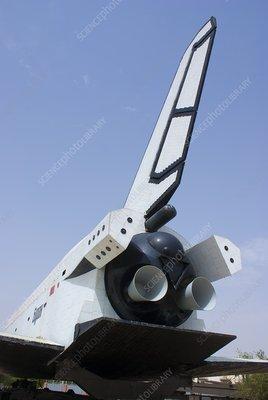 Tail of Russian space shuttle Buran
