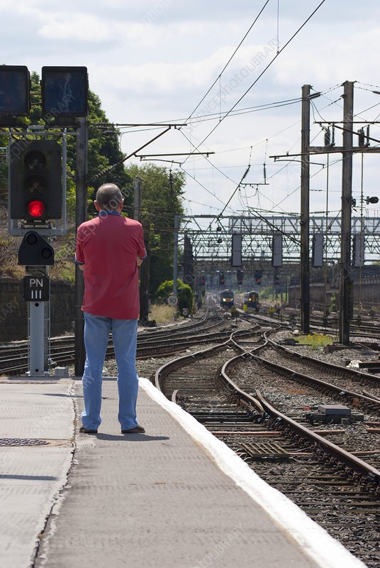 Trainspotter at Preston railway station