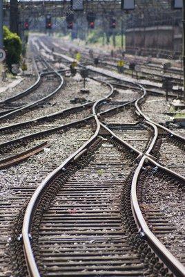 Railway lines and heat haze