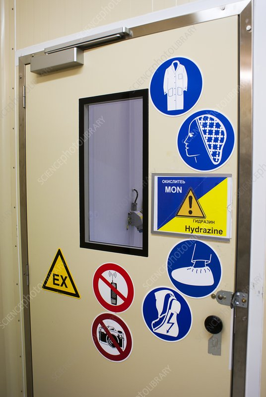 Cleanroom entrance at Baikonur Cosmodrome