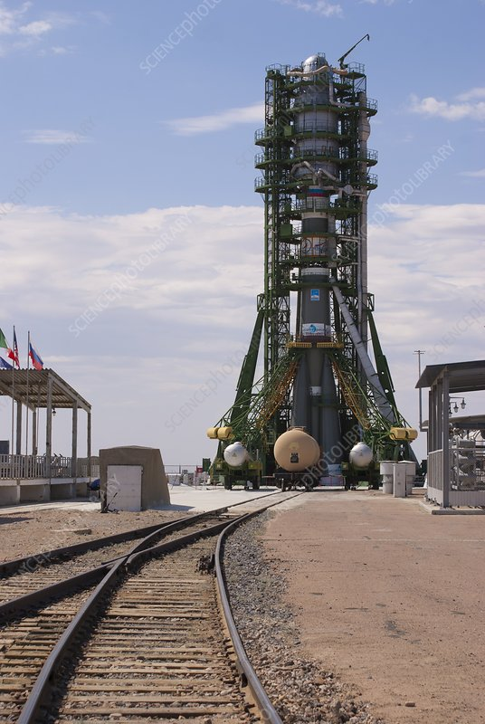 Soyuz rocket on launch pad at Baikonur