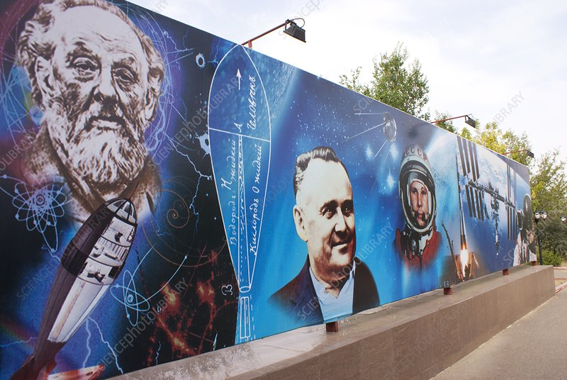 Mural at Baikonur space museum