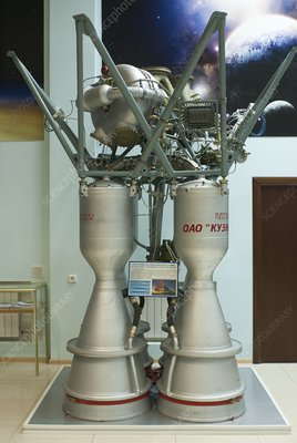Soyuz rocket engines in Baikonur museum