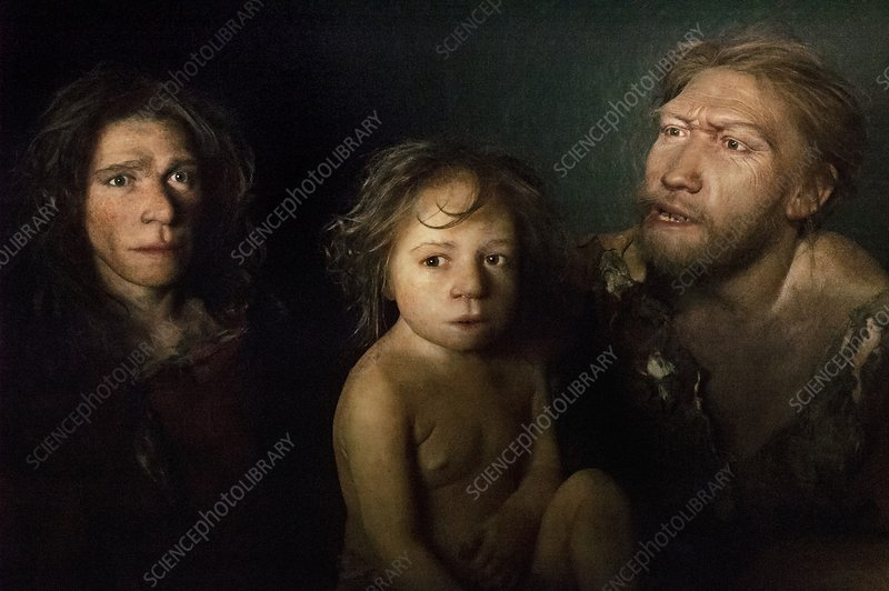 Neanderthal family, reconstruction