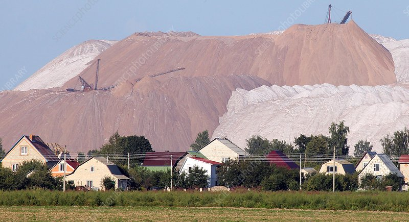 Huge spoil heap at potash mine