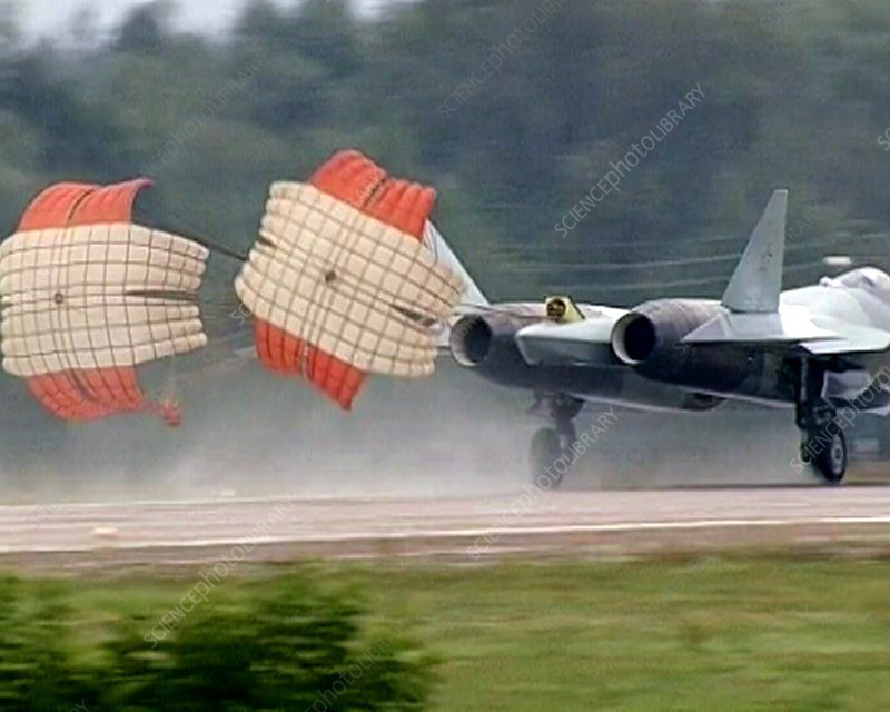 Fighter aircraft with brake parachutes