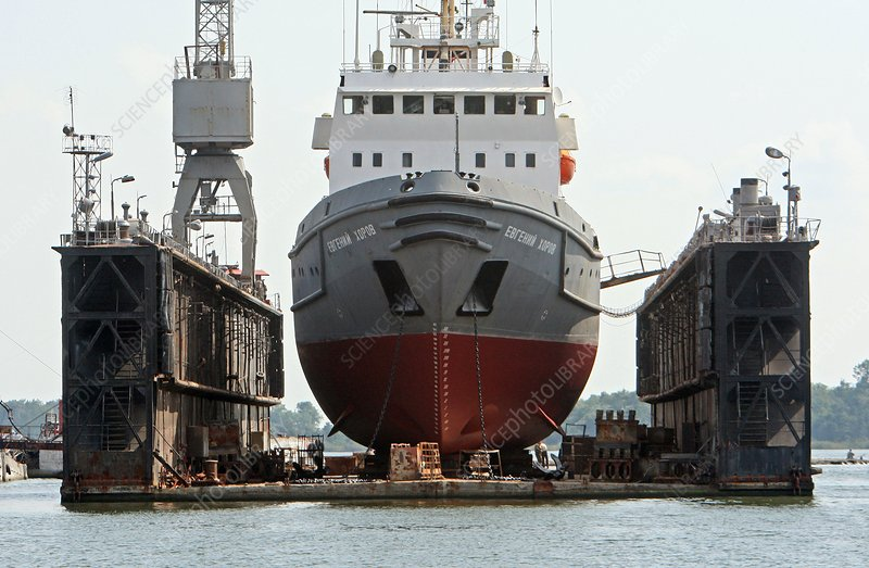 Ship in a floating dry dock