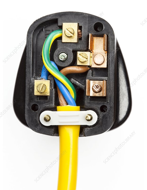 UK 3-pin electrical plug, no fuse