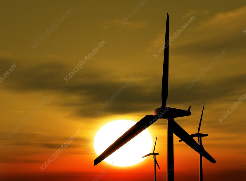 Wind turbines and the Sun, artwork
