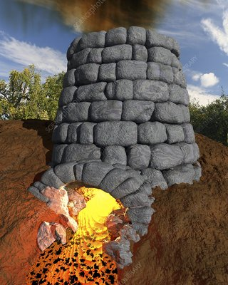 Iron-smelting furnace, artwork
