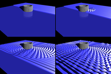 Harmonic wave scattering, simulation