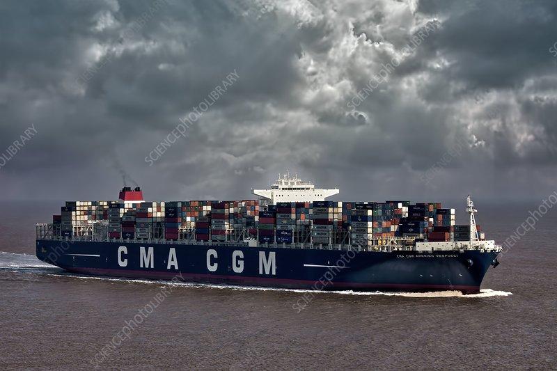 Amerigo Vespucci container ship - Stock Image - C014/7377