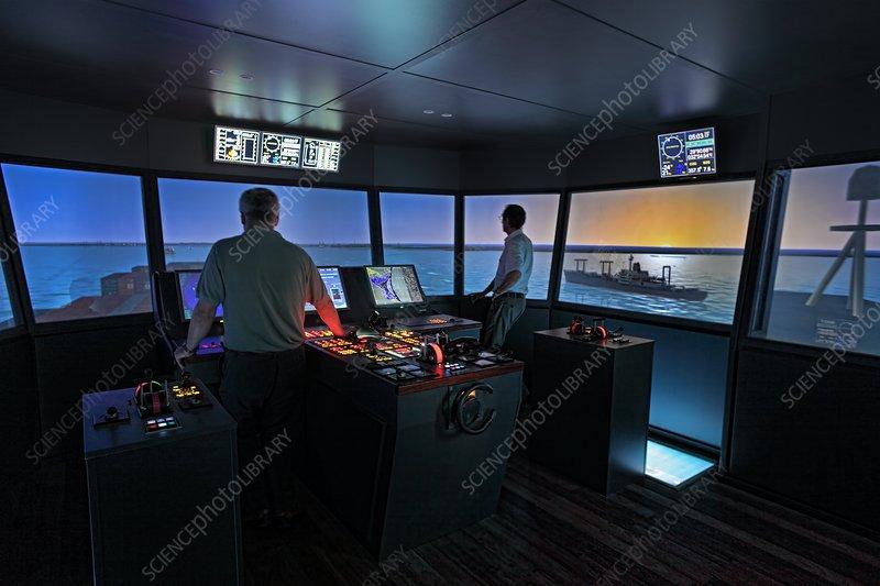 Container ship bridge simulator - Stock Image - C014/7420 - Science