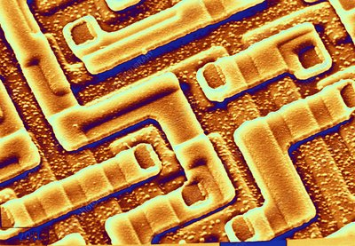 SEM of the surface of an integrated chip