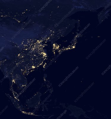 Asia at night, satellite image