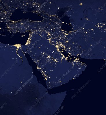 Middle East at night, satellite image