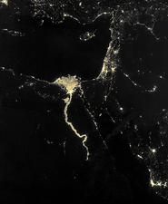 Nile at night, satellite image