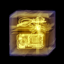 Coloured x-ray of a digital camera