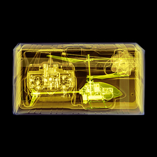 Coloured x-ray of a toy helicopter