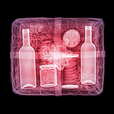 Coloured x-ray of a Christmas hamper