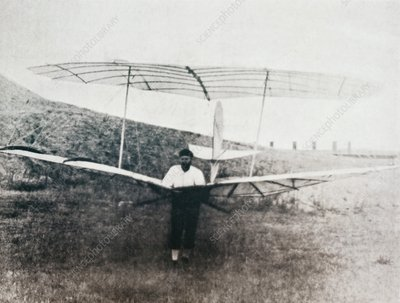 Otto Lilienthal and glider, 1895