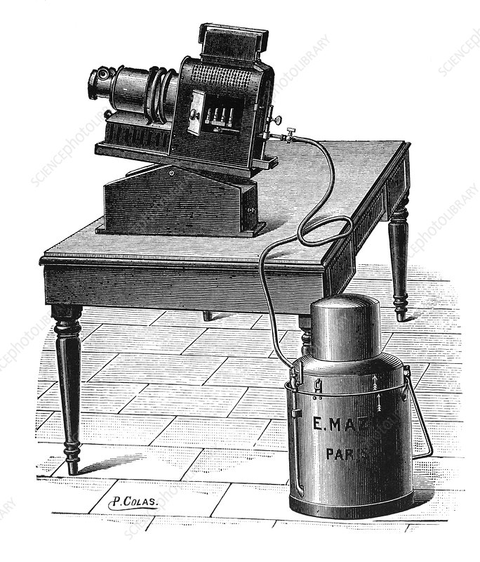 Acetylene-powered projector, 1897