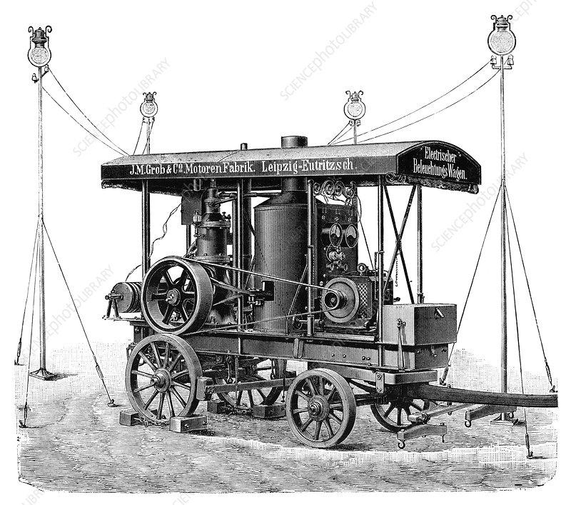 Petrol-powered electric lights, 1897