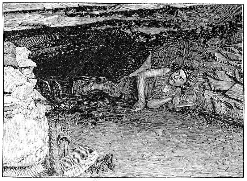 Miner with foot-drawn cart, artwork