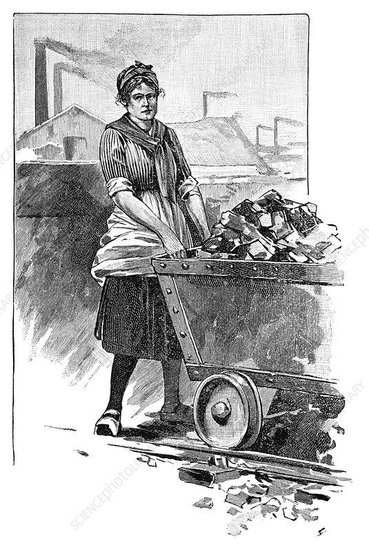 Female mine worker, artwork