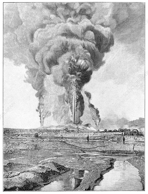 Oil well fires, Caucasus, artwork