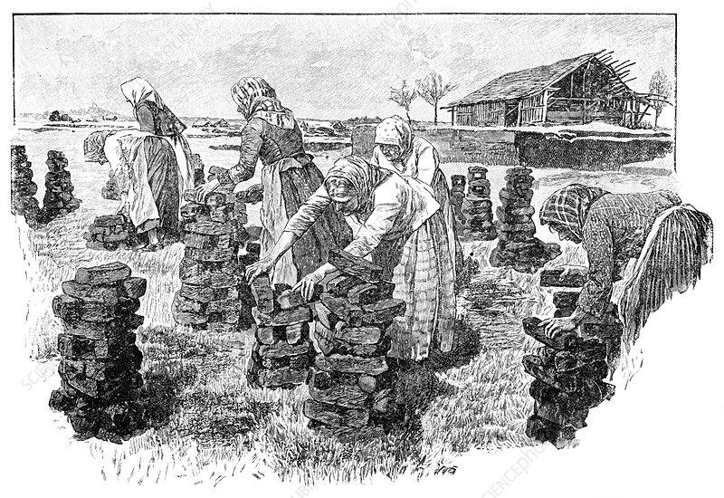 Workers drying peat, artwork