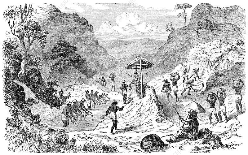 Diamond mining in Brazil, artwork