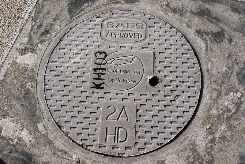 Optic fibre manhole cover in Cape Town
