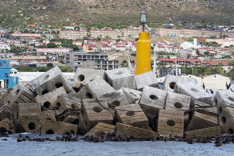 Concrete block breakwater in South Africa