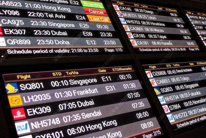 Aircraft departures board in Beijing