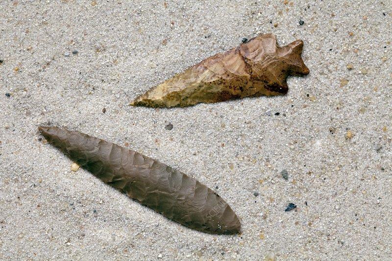 Native American flint arrowheads