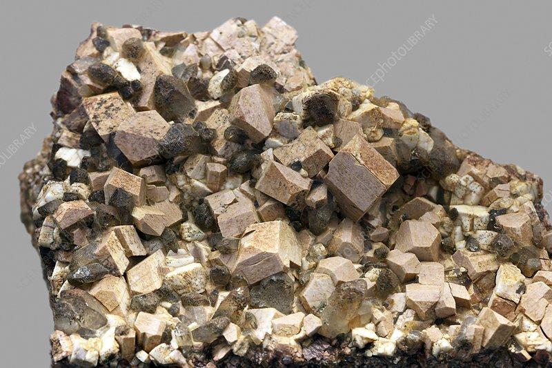 Orthoclase and quartz crystals