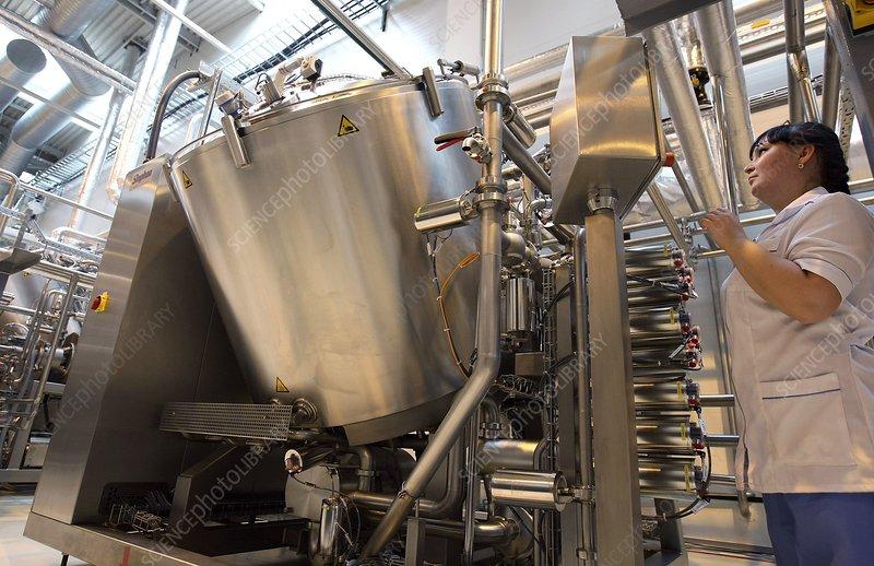 Vat of mayonnaise at a factory