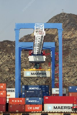 Crane at a container port