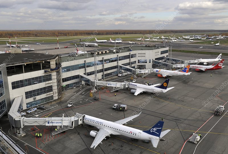 Airliners parked at Moscow airport