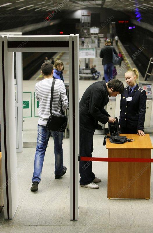 Security checks on metro station