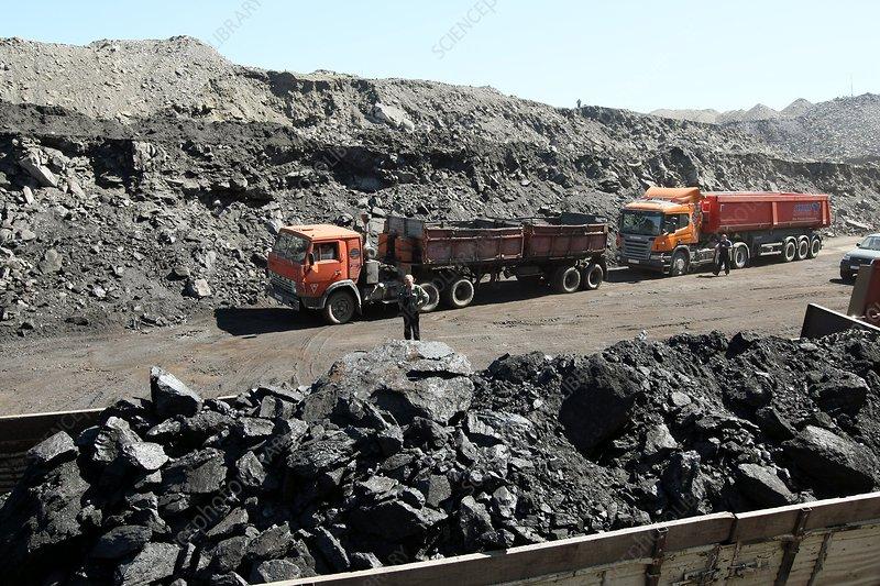 Trucks at a coal mine
