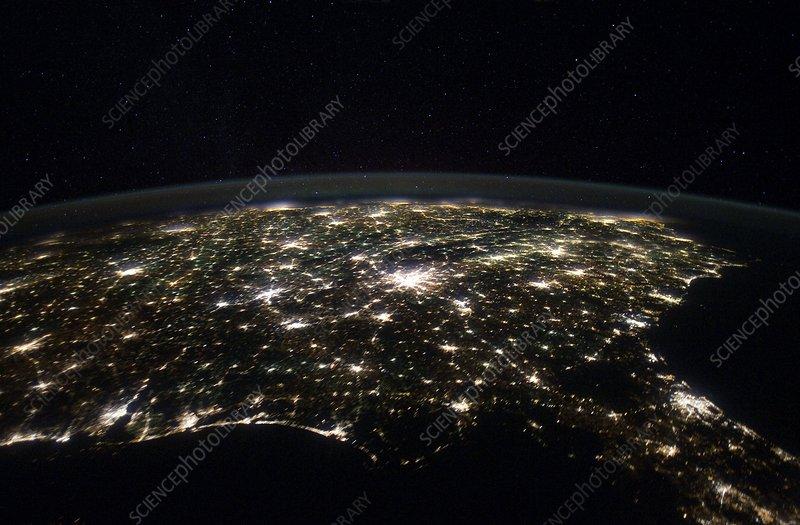 Southeastern USA at night, ISS image