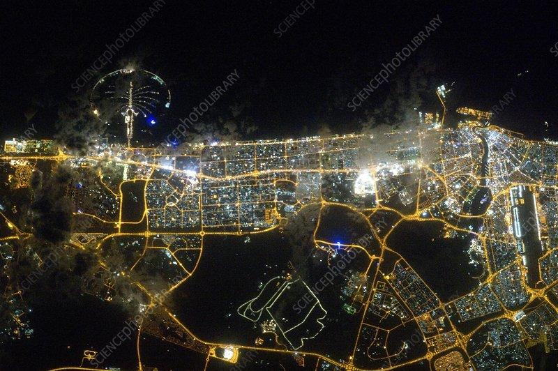 Dubai at night, ISS image