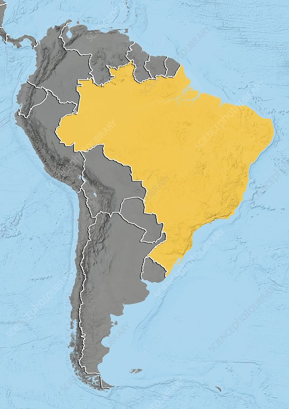 Brazil, relief map