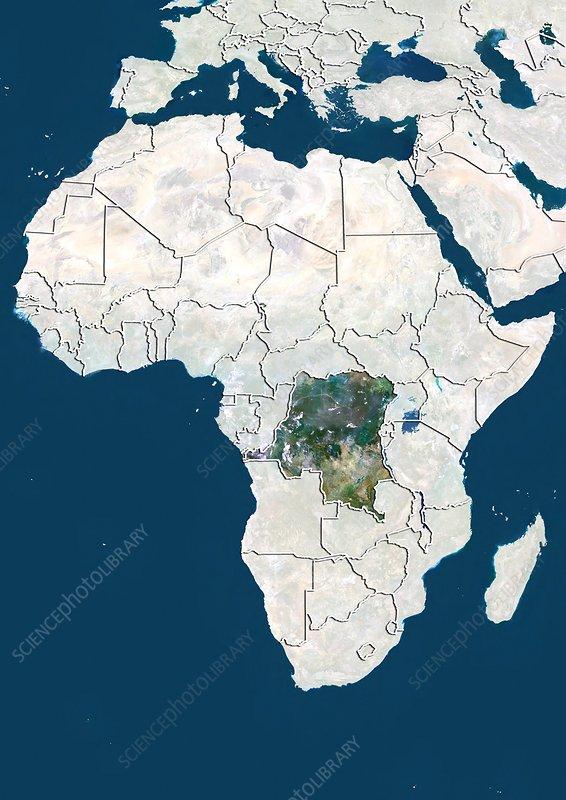 DR Congo, satellite image