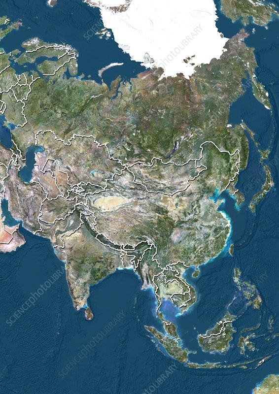Asia, satellite image