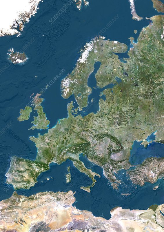 Europe, satellite image