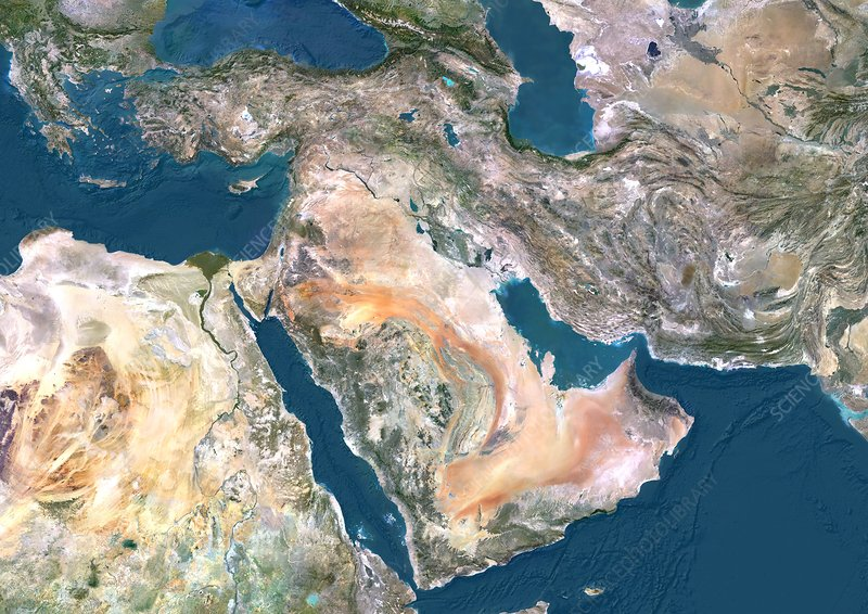 Middle East, satellite image
