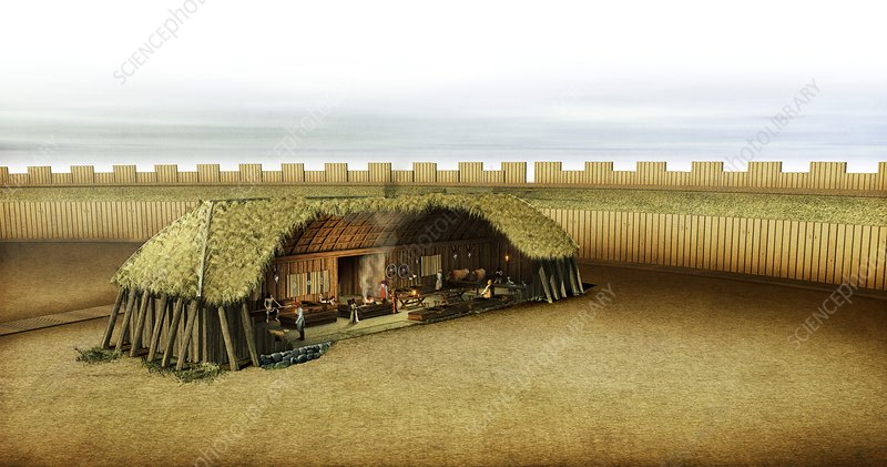 Viking House In Ring Fortress Artwork Stock Image C015